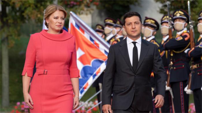 Le Président de l'Ukaine Volodymyr Zelenskyj en Slovaquie