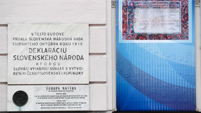 Histoire : Déclaration proclamant l'adhésion à la Tchécoslovaquie