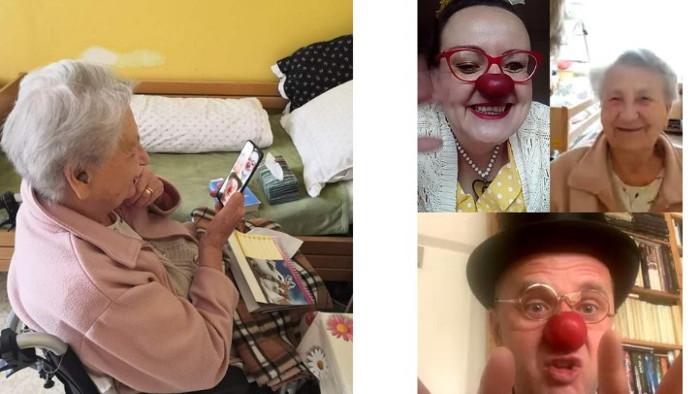 Klauni zabávajú seniorov aj cez web