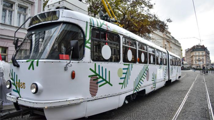 Рождественский трамвай - мобильная галерея