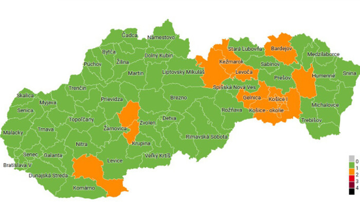COVID-19 in Slovakia: 14 orange districts as of Monday