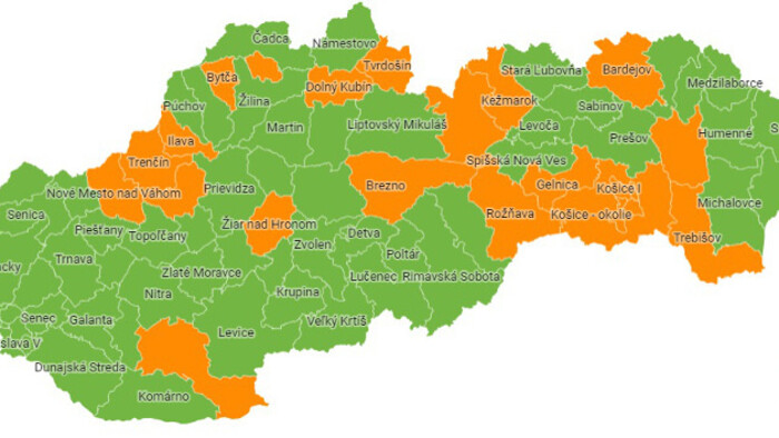 COVID-19 in Slovakia: 23 orange districts as of Monday