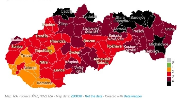 """Slovakia has ten """"black districts"""" as of Monday"""