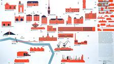 Stadtplan technischer Baudenkmale in Bratislava