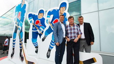 Памятник прославленным словацким хоккеистам